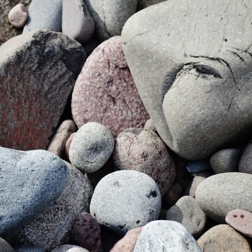 After the storm, the stones kep their eye on things on the beach, settled down and rested up.