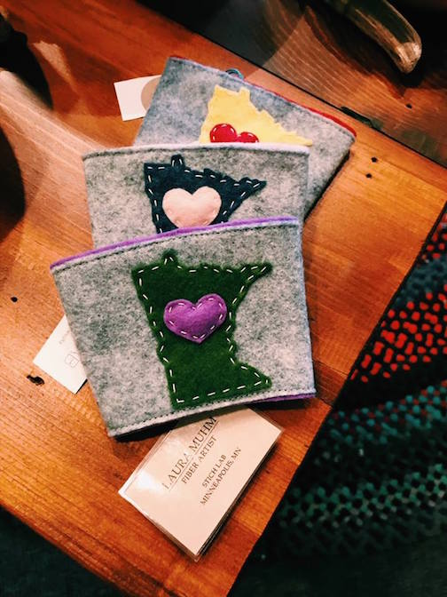 Coffee cozies by Stitch Lab are at Kah-Nee-Tah Gallery in Lutsen.