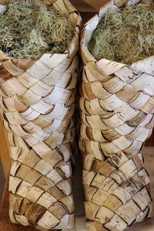 Birch bark boots by Beth Homa Kraus.