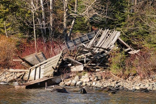 The old fish house in Hovland gave it up after the last storm. Photo by Sandra Updyke.