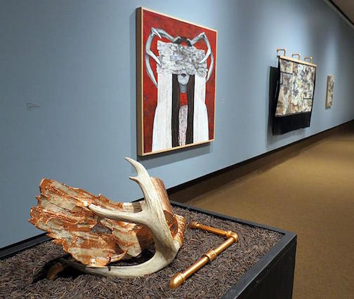 "Cree Stevens, ""Wigwas with Antler, 2017,"" mixed media sculpture with  birch bark, deer antler, rawhide lacing, copper leaf, copper wire, iron pipe."