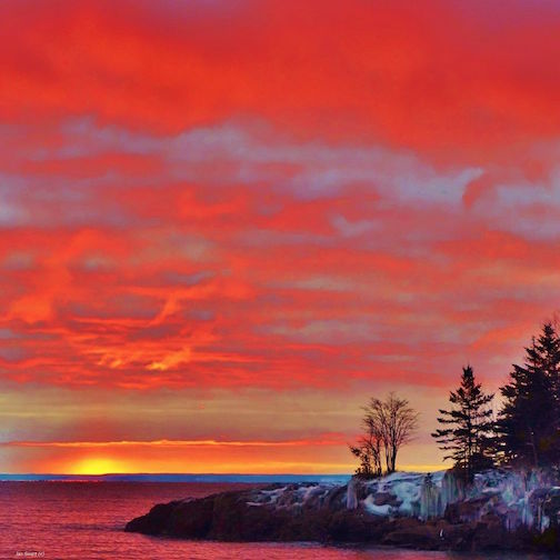 Winter sunrise on Burlington Bay by Jan Swart.