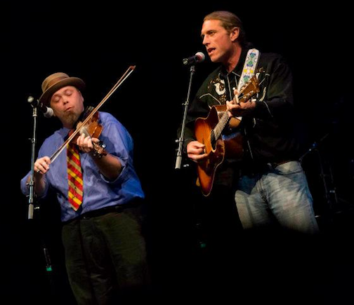 Adam Moe and Boyd Blomberg will talk about their music and play a few songs at the library on Wednesday.