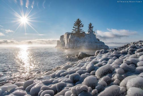 Ice eggs at Hollow Rock by Travis Novitsky.