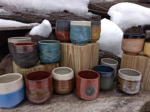 Natalie Sobanja has a new series of cups at the Underground Holiday Show at Betsy Bowen's Studio and Gallery.
