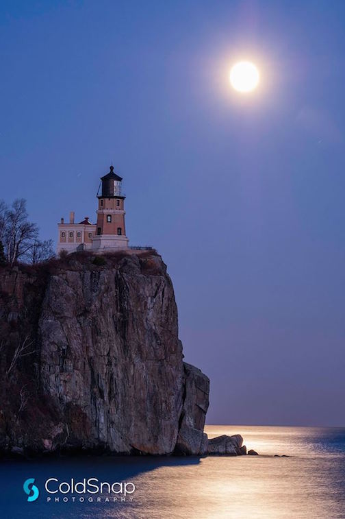 The Supermoon at Split Rock by John Gregor.