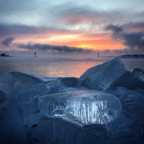 Icy sunrise by Kjersti Vick.