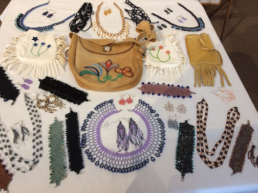 Marcie McIntire beadwork is at the Mostly Fiber Festival at the Johnson Heritage Post. She is also giving demos.