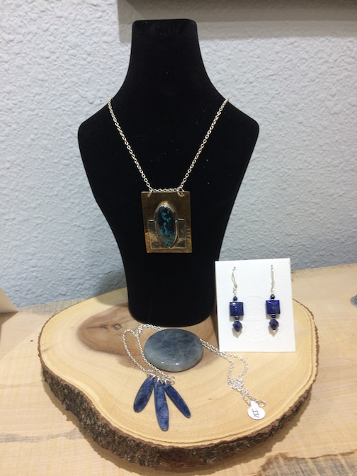 Ron's World Rocks: Silver and Gems is featuring this azurite pendant and lapis earrings as well as a neclace with three kyanite beads and a labrodorite stone.