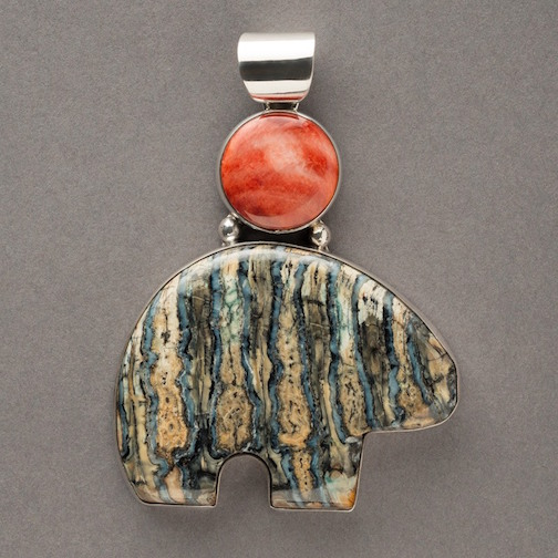 Sivertson Gallery has a selection of Bering Sea Designs, including this mammoth tooth/spiny oyster pendant.
