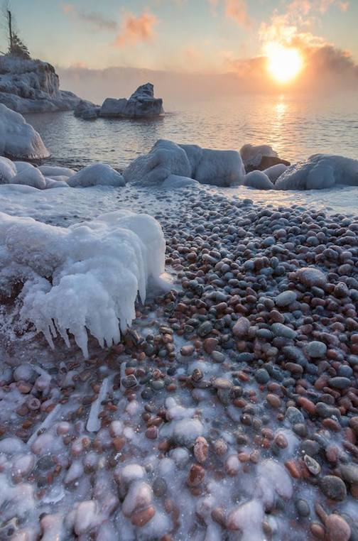 It was pretty cold this morning. Pretty but cold. Lake Superior shoreline at -24 degrees by Thomas Spence.