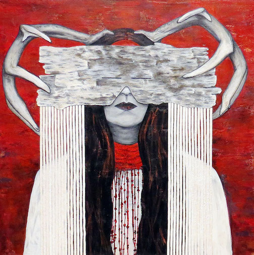 """Fortify This One,"" by Cree Stevens. Mixed media on wood panel."