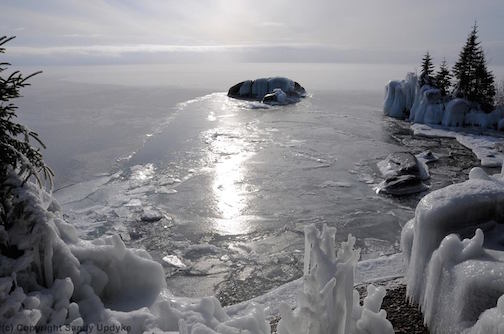 Lake Superior is freezing by Sandra Updyke.