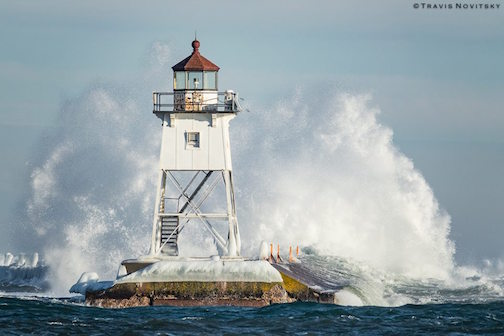 Wind and waves in Grand Marais by Travis Novitsky.