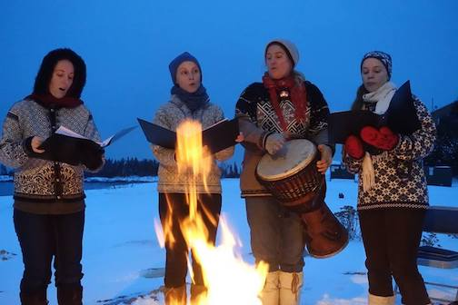 SVEA sings in front of the bonfire at Drury Lane Books at 6:30 p.m. Friday.