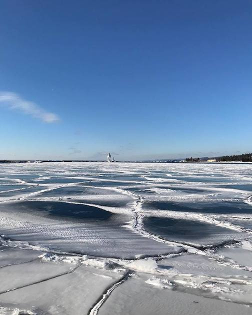 Ice on the harbor by Abby Tofte.