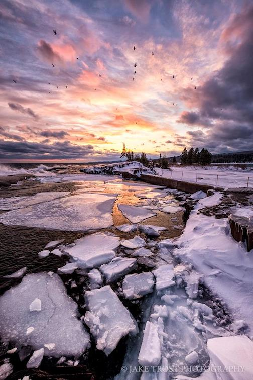 Sunday's sunset in Grand Marais by Jake Trost.