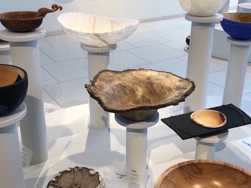 Lou Pignolet's bark-edge black gum burl bowl is on exhibit at the American Swedish Institute's exhibit, CraftBowl.