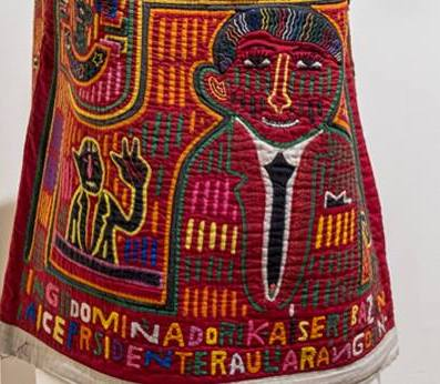 (detail) Attributed to Kuna Panama People. Mola (Blouse-political man), date unknown. Reverse applique on fabric.