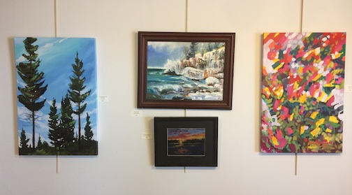 A selection of paintings on view at the Heritage Post exhibit.