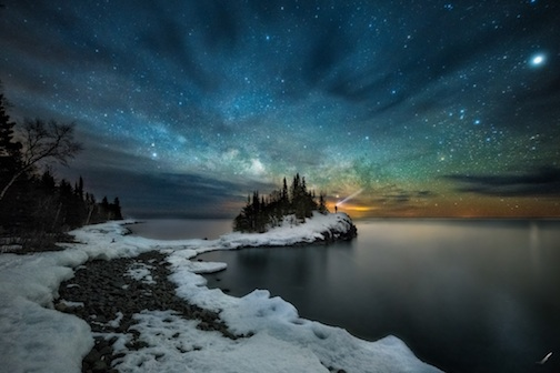 Lake Superior Tombolo at dawn by Matt Herberg.