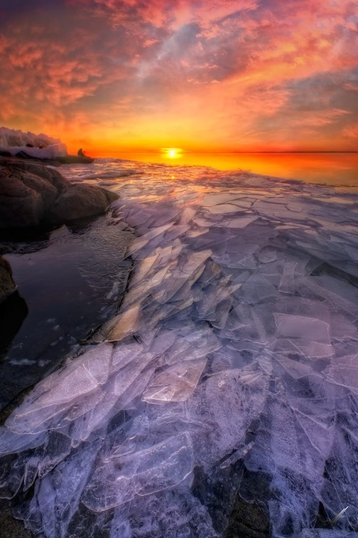 Plate ice sunrise by Matt Herberg.