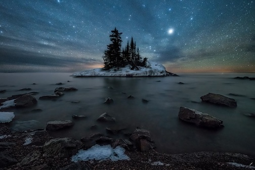Tombolo Island on Lake Superior by Matt Herberg.