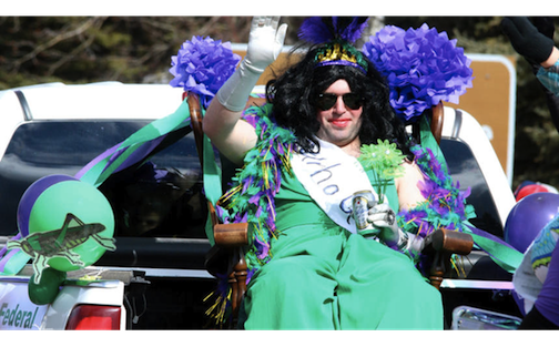 One of the contestants for the Miss Helmi Contest strutting her stuff at the St. Urho's Parade last year. Photo coutesty of the Lake County News-Chronicle.