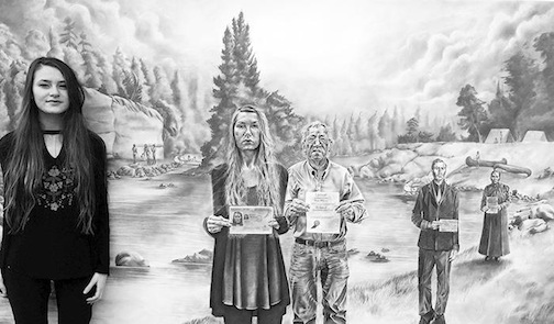 "Lakehead University art student Mary McPherson stands by ""My Elders Emerging from an Inauthentic Past,"" her drawning that won the People's Choice Award in the exhibit at the Thunder Bay Art Gallery."