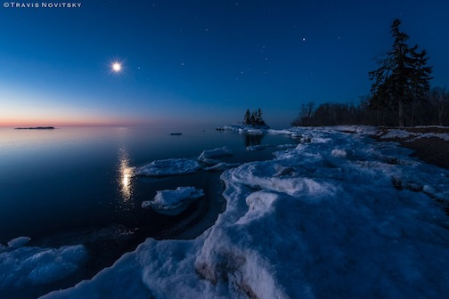Moonrise, Lake Superior by Travis Novitsky.