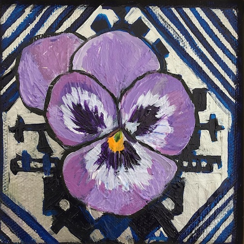 "The Nordic Center in Duluth will open a new show, Ojibway & Nordic Flowers, Vines & Leaves: Honoring Mother Earth"" featuring works by a variety of artists. The pansy, above, is by Alison Aune."
