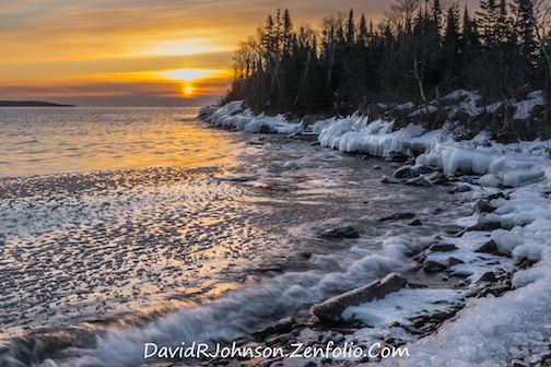 Windy cold sunrise by David Johnson.