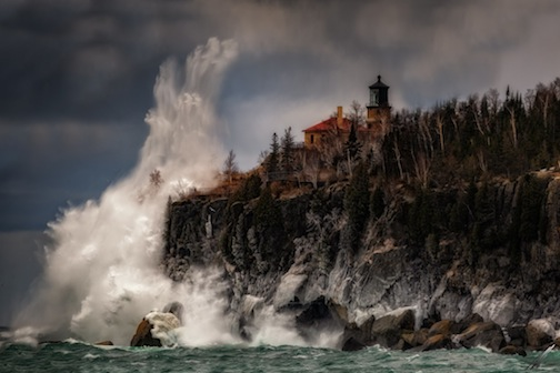 Matt Herberg caught this spectacular waves hitting the rocks just below Split Rock Lighthouse during the storm.