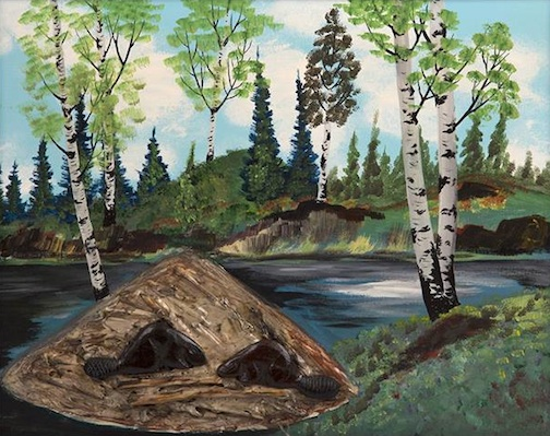 thunder bay noel ducharme untitle beaver house, mixed media on canvas 1972