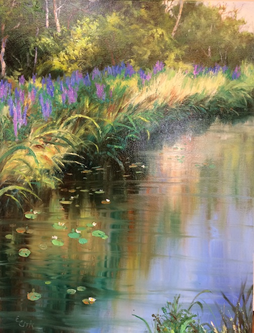 """Pond"" by Elsie Cook, is one of the works in the Voyageur show at the Cedar Coffee Company."