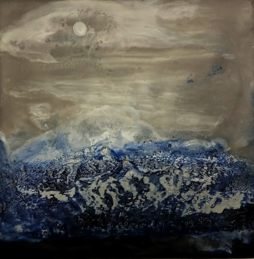 Abstract Ocean, encaustic by Bethany Kepler.