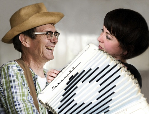 Kevin Kling and Simone Perrin perform at Gunflint Lodge on Saturday night.