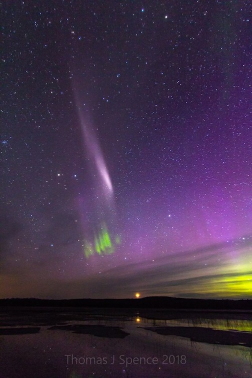 """Steve,"" an unusual northern lights phenomena by Thomas Spence."