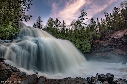 Spring sunset over Partridge Falls by Travis Novitsky.