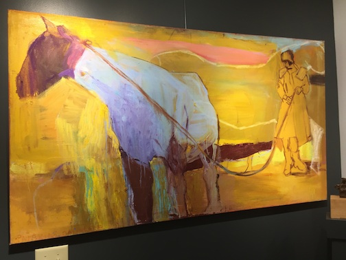 """Adeline and Horse with Blue Coat"" by Patricia Canelake has just arrived at the Yellow Bird Fine Art gallery."