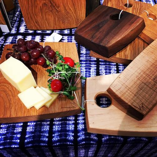 Jim Sannerud has a number of his handmade cutting boards at Betsy Bowen Studios & Gallery.