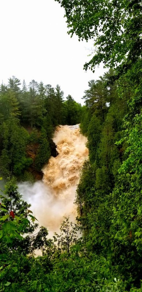 Big Manitou Falls after the 10-inch rain by Broc Allen.