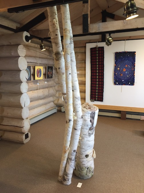Felted birch tree sculpture by Marlys Johnson.