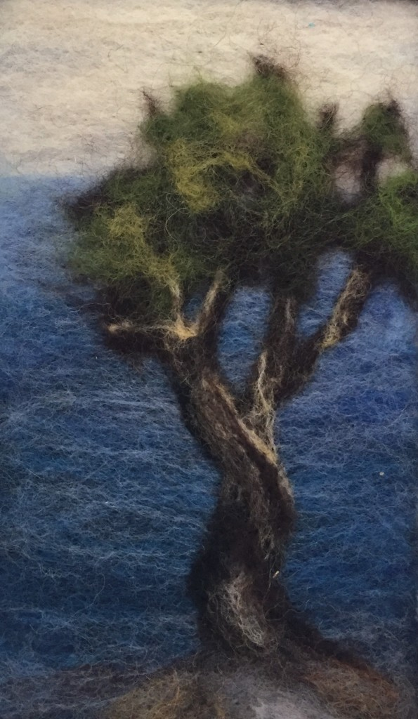 Little Spirit Tree, felted painting by Mary MacDonald.