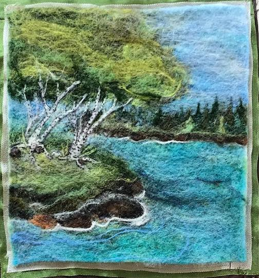 Felted painting by Kim Knutsen is at the Kah-Nee-Tah Gallery.