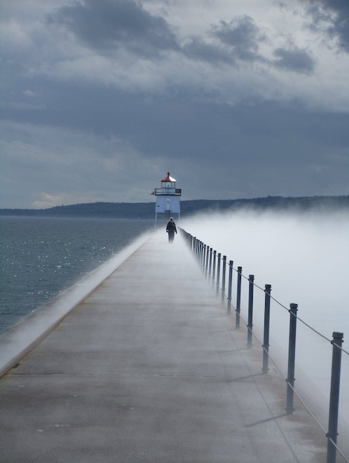 Two Harbors breakwater by Michael Nesset.