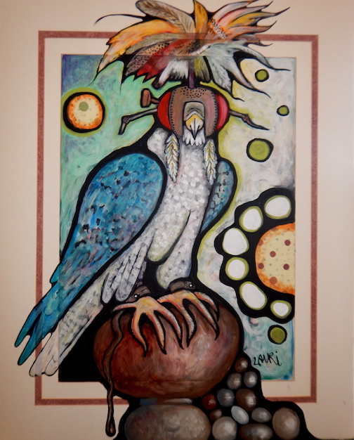 This painting by Laurie Olson Hohman is at the Peregrine Falcon exhibit at Tettegouche State Park.