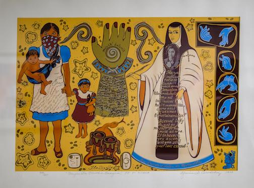 "This print by Yreina Cervantz entitled ""Majur de Much Enagua Pa Ti Xicana"" is at the Tweed Museum of Art in the In Solidarity: Women of Print exhibit."
