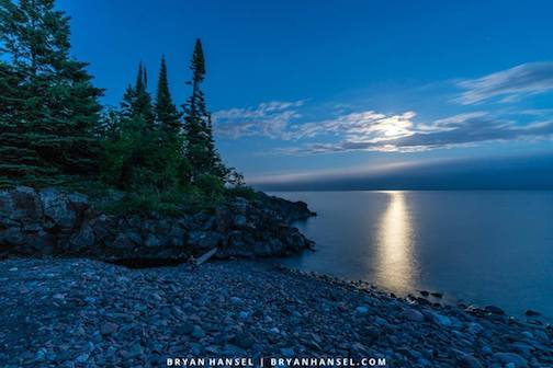 Full Strawberry Moon over Lake Superior by Bryan Hansel.