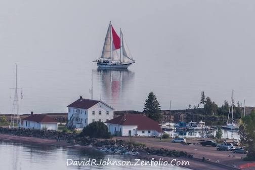 This schooner arrived in the Grand Marais Harbor, a visitor for North House Folk School's Wooden Boat Show. David Johnson took the photo, but it looks like it was taken in 1908, doesn't it? Enjoy!